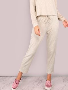 """Get comfy in these breezy pants. Featuring lightweight cotton pants with an elastic waistband and drawstring. Pants measure 34"""" in. from waist to bottom hem. Throw on a matching hoodie or v-neck, messy bun + minimal make-up look. #sporty #MakeMeChic #style #fashion #newarrivals #fall16"""