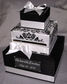 Black and White Card box for wedding gift table Money Box Wedding, Card Box Wedding, Diy Wedding, Wedding Favors, Wedding Gifts, Damask Wedding, Wedding Ideas, French Wedding, Wedding Centerpieces