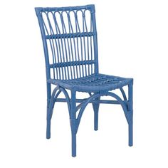 Pairing island style with contemporary color, this chic rattan side chair showcases an openwork design and blue finish.  Product: