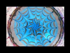 Very intricate water marble: double spider web and flower design - YouTube