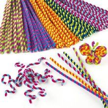 Großpackung Pfeifenreiniger - gestreift für Kinder zum Basteln und Dekorieren - 50 Stück