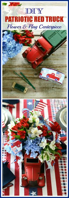 DIY Patriotic Red Truck Flower Centerpiece | ©homeiswheretheboatis.net #patriotic #tablescape #centerpiece #flag #4thofjuly Flower Centerpieces, Flower Vases, Flower Arrangements, Small American Flags, Endless Summer Hydrangea, Small Flags, Table Setting Inspiration, Floral Foam, Independence Day