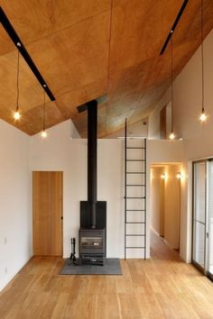 Ceiling Design Living Room, Living Room Designs, Colorful Interior Design, Colorful Interiors, Plywood Ceiling, Bunk Bed Ladder, Plywood Interior, Loft Stairs, Wood Kitchen Cabinets