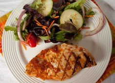 Grilled chicken with Sun Dried Tomato Basil Vinaigrette, serve with salad or pasta with veggies
