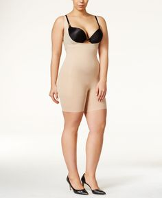 Spanx Firm Tummy-Control Plus Size Open-Bust Bodysuit - Tan/Beige Bustier Dress, Bodycon Dress, Bodysuit, Spanx, Plus Size Bodies, Shapewear, Get The Look, Plus Size Fashion, My Style
