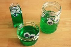 Googley Eye Blobs for Halloween - could make this an edible treat with green jello and candy eyes!