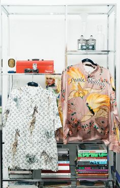 Jahleel Weaver's Closet:The Jr. Creative Director of Fenty Corp,has a closet bursting with silk and, of course, Puma. -- Animal printed silk Louis Vuitton tops and Supreme sunglasses. | Coveteur.com