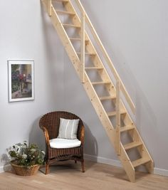 Architecture Grey Wall Paint Decoration With Wooden Rustic Ladder Using Handrails Above Rattan Wicker Chair Has White Cushion And Flower On Rattan Basket Wooden Flooring Idea Ladder Design for Small Home