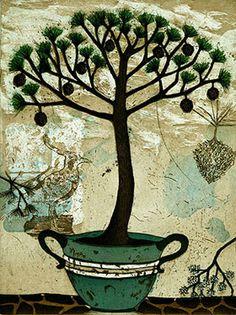 Suvisaaristo Pine by Kirsi Neuvonen, 2007 Bild Tattoos, Tree Print, 2d Art, Mixed Media Art, Painting & Drawing, Flower Art, Printmaking, Illustration Art, Illustrations