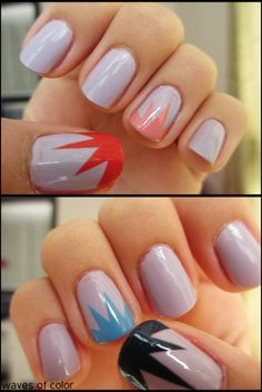 waves-of-color:    Essie-St. Lucia Lilac  Chic-304 Watermelon (pink)  Chic-12 Peach Style (light pink)  Orly-Blue Suede (blue)  Chic-495 Swimming Pool (light blue)  tutorial by nailside