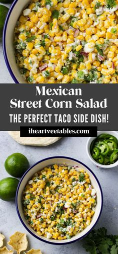 This Spicy Mexican Street Corn Salad is my favorite dish to serve with tacos or fajitas! It's great for a crowd because you can make it ahead of time and you can make it as spicy or as mild as you like. This recipe serves enough for a group but you can easily divide it in half for a smaller portion. Fajita Sides, Fajita Side Dishes, Mexican Side Dishes, Veggie Side Dishes, Side Dish For Tacos, Side Dish Recipes, Sides With Tacos, Mexican Salad Recipes, Mexican Salads