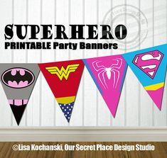 Printable Superhero Party Banner Superhero Logo Symbols Superhero Birthday Party Superhero Baby Shower by OurSecretPlace 4th Birthday Parties, Birthday Fun, Super Hero Birthday, Birthday Ideas, Superman, Batman, Anniversaire Wonder Woman, Meghan Patrick, Batgirl Party