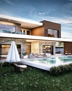 45 luxury modern house exterior design ideas – My Ideas Villa Design, Modern House Plans, Modern House Design, Modern Architecture House, Architecture Design, Luxury Modern Homes, Casas Containers, Backyard Pool Designs, Dream House Exterior