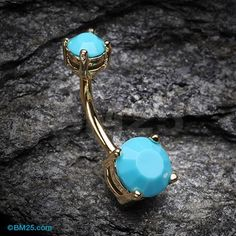 Golden Turquoise Shine Prong Set Belly Button Ring