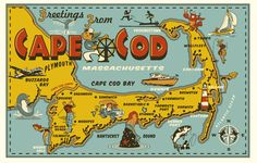 cape cod post card tee by Greg Dampier - Illustrator & Graphic Artist of Lake Wales, Florida