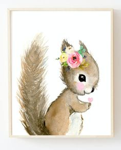 Lets make your little ones room warm and enjoyable! This is a print of my watercolor painting. Printed on beautiful high quality, archival and acid free velvet fine art paper using professional Epson Ultra Chrome inks. Baby Animal Nursery, Flower Nursery, Girl Nursery, Cute Squirrel, Baby Squirrel, Art Wall Kids, Nursery Wall Art, Nursery Decor, Woodland Nursery Prints