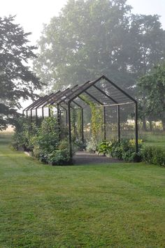 Stylish pergola with many different kinds of plants. Stylish pergola with many different kinds of plants. Garden Trellis, Garden Beds, Vine Trellis, Farm Gardens, Outdoor Gardens, Small Gardens, The Secret Garden, Greenhouse Gardening, Greenhouse Plans