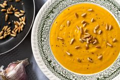 Sweet Potato, Caramelised Garlic & Pine Nut Soup Recipe | Eat Drink Paleo
