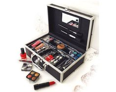 33 piece cosmetic make up vanity eye shadow mirror palette travel case set kit
