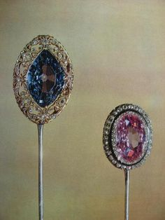 THE ROMANOVS JEWELRY ~ Diamonds, gold, silver, enamel 1.5 x 1.9 cm 1.8 x 2.6 cm. There are the examples of men's jewelery - diamond tie pins that were converted from rings, probably in the 20s of the 19th century. These two jewels are decorated with rare stones: hot pink, soft pleasant tone oval Indian diamond (3.36 carats) and diamond intense blue diamond (7.6 carats), resembling the color of famous Ceylon sapphire.