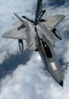 F-22 Raptor mid-air refueling.