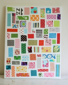 ticker tape on canvas- use up those tiny scraps of fabric that you can't throw away...mod podge to a canvas for artwork!