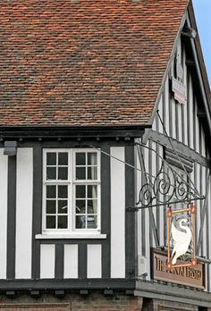 Swann Inn Timbered Building and Sign, Felsted, Essex / England