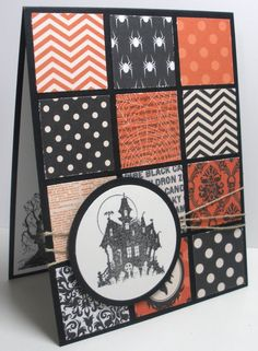 Supplies: Paper: Gina K black onyx, MME Haunted, Paper Cut whip cream Stamps: The Best of Halloween Ink: Gina K black Amalgam ink Acce. Halloween Paper Crafts, Handmade Halloween Cards, Cricut Halloween Cards, Handmade Crafts, Handmade Rugs, Halloween Tags, Homemade Halloween, Halloween Skull, Halloween 2019