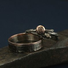 Rustic Woodland Wedding Set Twig Ring set with by RevolutionBA