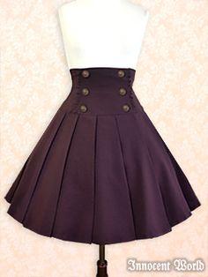 "Nautical Double Button High-Waist Skirt - ""European Classic Skirt"" - by Innocent World -  on lolibrary.org"