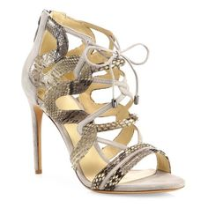 Alexandre Birman Strappy Python & Suede Cage Sandals ($750) ❤ liked on Polyvore featuring shoes, sandals, mono grigio, snakeskin print shoes, tie sandals, python shoes, monk-strap shoes and python sandals