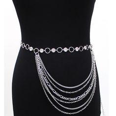 New Women Fashion Hallow Circle Full Metal Chain Belt Gold Silver Rhineston Long | eBay
