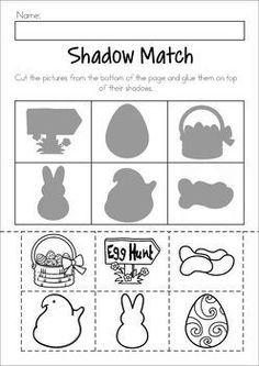 Easter Preschool No Prep Worksheets & Activities. Shadow matching cut and paste activity. Easter Activities For Preschool, April Preschool, Free Preschool, Preschool Curriculum, Preschool Lessons, Spring Activities, Preschool Learning, Homeschool, Easter Worksheets