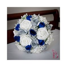 Royal blue and white wedding bridal bouquet with silver clear crystals... ❤ liked on Polyvore featuring home, home decor, silver home decor, silver home accessories, blue home accessories, blue home decor and blue and white home decor