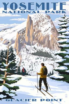 Yosemite National Park, California - Glacier Point and Half Dome - Lantern Press Artwork Giclee Art Print, Gallery Framed, Espresso Wood), Multi California National Parks, California Art, Us National Parks, California Travel, Vintage Ski Posters, Retro Poster, Skier, National Park Posters, Look Vintage