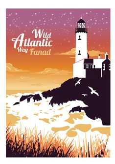 Blog — Gary Reddin Ink. Wild atlantic way, Illustration, Lighthouse, Sunset, Donegal, Fanad, Art, Colourful, Atlantic ocean, Seaside,