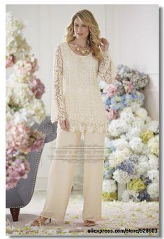 2014 Elegant Ivory Lace 2 piece mother of the bride  pants suit Plus size US $149.00