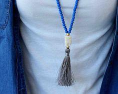 Blue Necklace. Long Beaded Necklace. tassel by lizaslittlethings