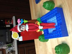 Elf on a shelf day 1. We named our elf Steve. He decided to soak his feet in a Lego hot tub after a long trip from the North Pole. Can't wait for Austin to see him tomorrow morning. The hardest part will be convincing him he can't touch the little guy....we shall see.