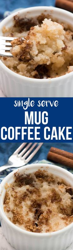 This Mug Coffee Cake recipe is a single serving of coffee cake for when you are craving a sweet breakfast! It stirs together quickly and cooks in 45 seconds and is the perfect small batch recipe for when you want a sweet treat. via @crazyforcrust