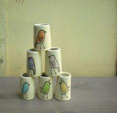 Rainbow bird vases #ceramics #bird #illustration