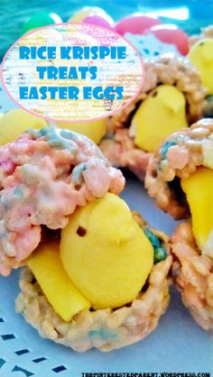 Rice Krispies treat eggs with a Peep surprise