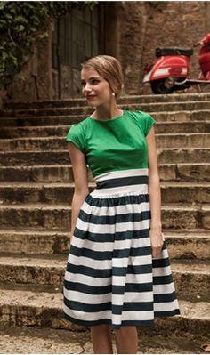 Kelly Green Top with Navy Striped Skirt Bottom Dress ($50-100) - Svpply