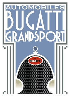 """This stunning art deco poster, designed, illustrated and printed by Bill Philpot, shows the iconic grille and badge of the Bugatti Type 43.  This more graphic Art Deco Bugatti poster representing the famous grille of the Bugatti Type 43 Grand Sport, in production from 1927 to 1930, and was a road going version of the hugely successful Type 35 racing car.  This beautiful poster measures 33½"""" x 24"""" (85cm x 61cm) and is digitally printed on the highest quality heavyweight (230 gsm) Brilliant…"""