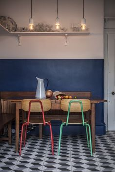 A Bold, Retro-Inspired Kitchen from British Standard - House Update 17 - Chair Design Fire Pit Table And Chairs, Dinning Chairs, Living Room Chairs, Painted Dining Chairs, Dining Room, White Kitchen Chairs, Long Chair, Half Painted Walls, Half Walls