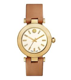 Tory Burch Classic T Watch, Luggage Leather/gold-tone, 36 Mm