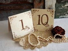 Wedding Table Number Cards Handmade Vintage Inspired by avintageobsession on etsy