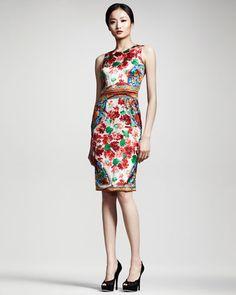 DOLCE & GABBANA  Floral-Print Sheath Dress; resort 2013 #FlowerShop