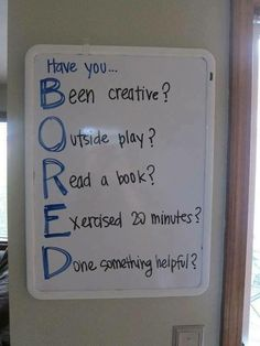 Developing problem-solving skills and creativity; answering these questions help children to brainstorm fun activities that they can do to reduce the sense of boredom. Gentle Parenting, Kids And Parenting, Parenting Hacks, Parenting Issues, Parenting Humor, Im Bored, Bored Kids, Bored Funny, Bored Jar