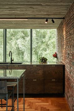 brown brick and wood, earthy Brown Brick, Brick And Wood, Brick Wall, Brown Kitchens, Rustic Kitchens, Rammed Earth Wall, Brown Home Decor, Weathered Wood, Picture Wall